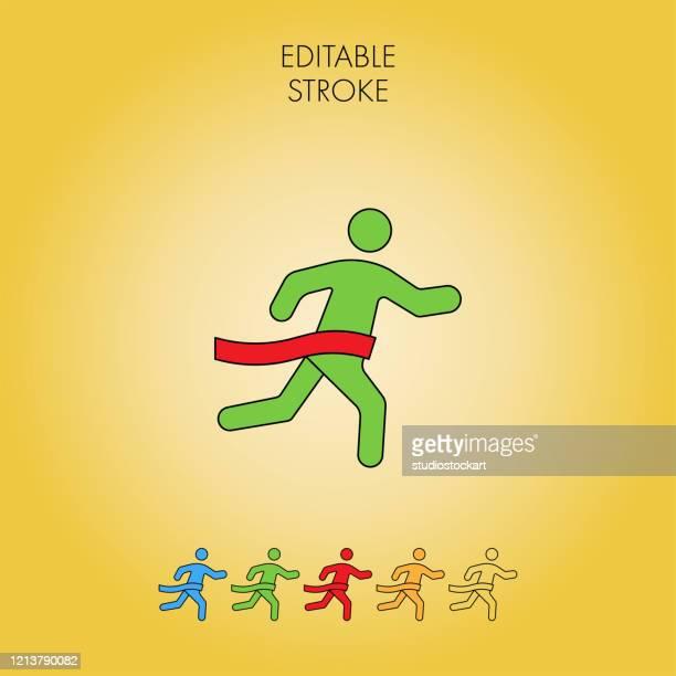 winning icon. editable stroke - glühend stock illustrations
