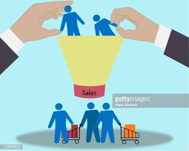 winning new customers with marketing strategies. - funnel stock illustrations