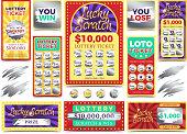 Winning scratching lottery vector tickets