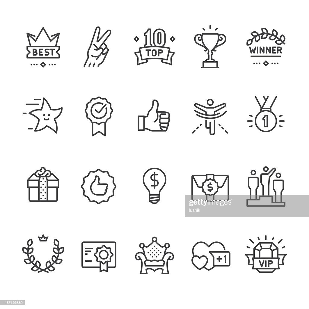 Winning, Success and Achievement vector icons