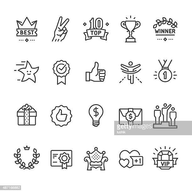 winning, success and achievement vector icons - achievement stock illustrations, clip art, cartoons, & icons