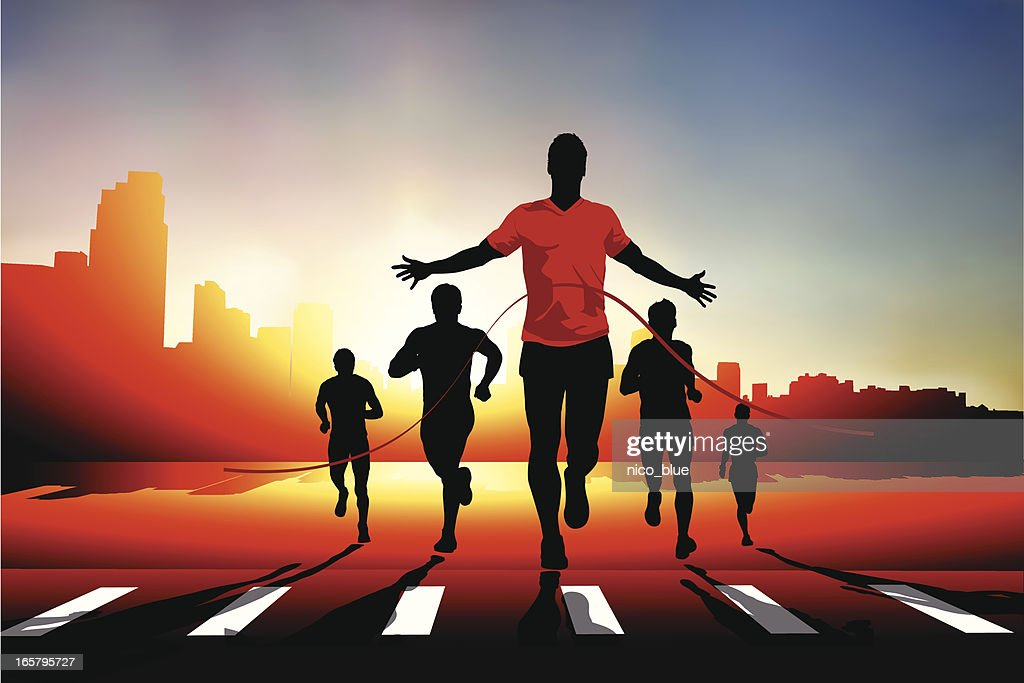 Winning the race : stock illustration