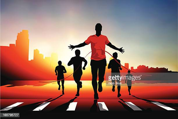 winning the race - sportsperson stock illustrations