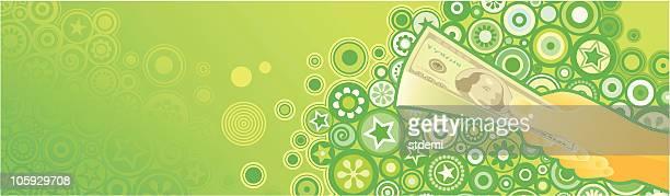 ilustraciones, imágenes clip art, dibujos animados e iconos de stock de ganancias - fajo de billetes