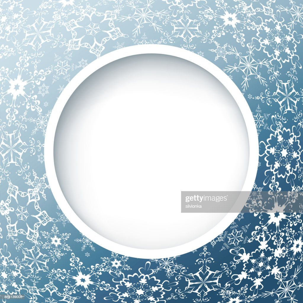 Winter abstract background with ornate snowflakes