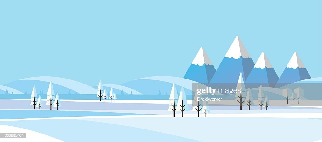Winter Abstract Landscape in Flat Design Style.