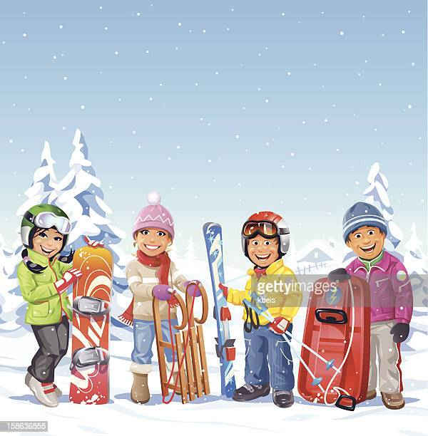 winter activities - tobogganing stock illustrations, clip art, cartoons, & icons