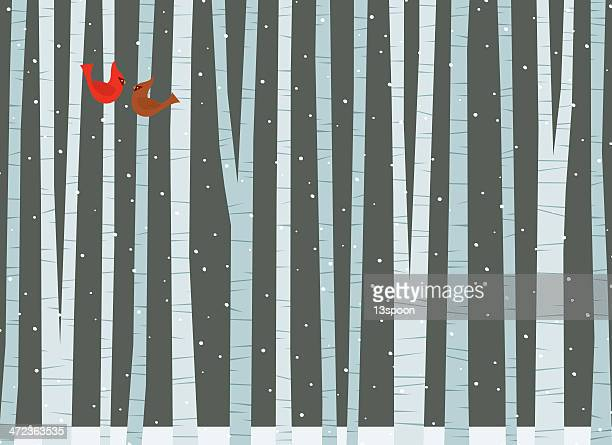 winter among the birch trees - cardinal bird stock illustrations, clip art, cartoons, & icons