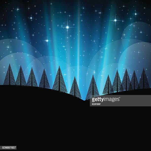 winter and christmas landscape with snow and trees at night - aurora borealis stock illustrations