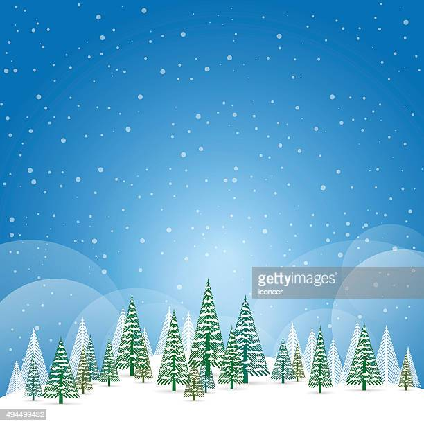 Winter and christmas landscape with snow and trees