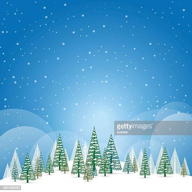 Noël et paysage d'hiver avec la neige et arbres