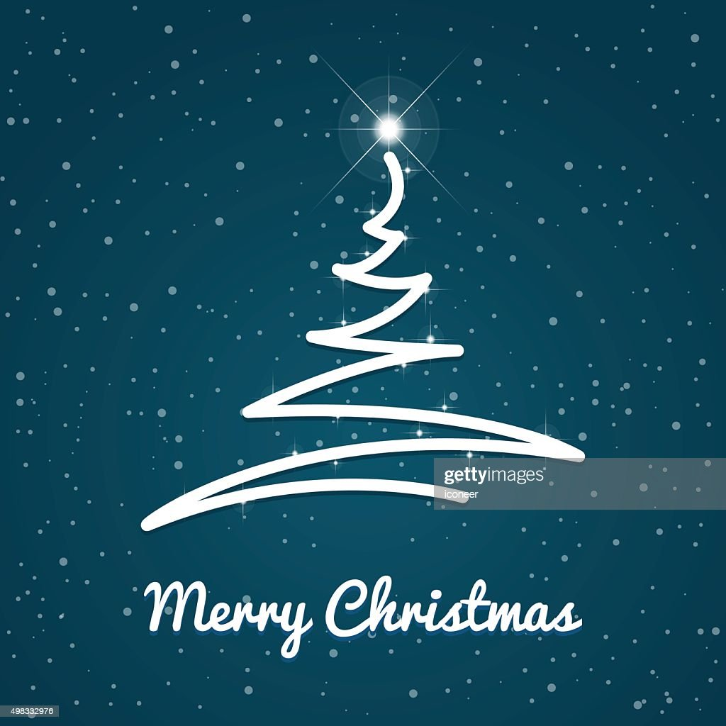 Winter And Merry Xmas Christmas Tree Blue Background With Snow ...