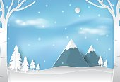 Winter and snow in forest with blue sky landscape nature background