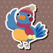 winter animal bird flat icon elements background,eps10