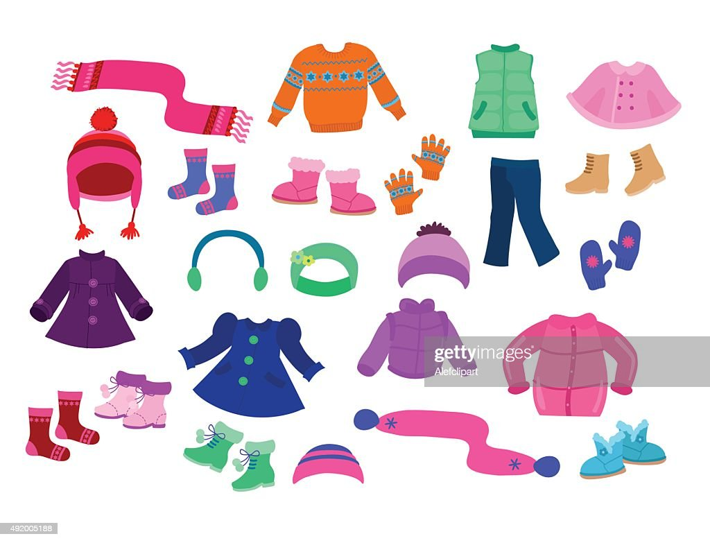 Winter apparel collection for girls - vector illustration.