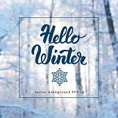 Winter background and calligraphy
