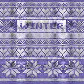 Winter background vector. Blue knitted pattern