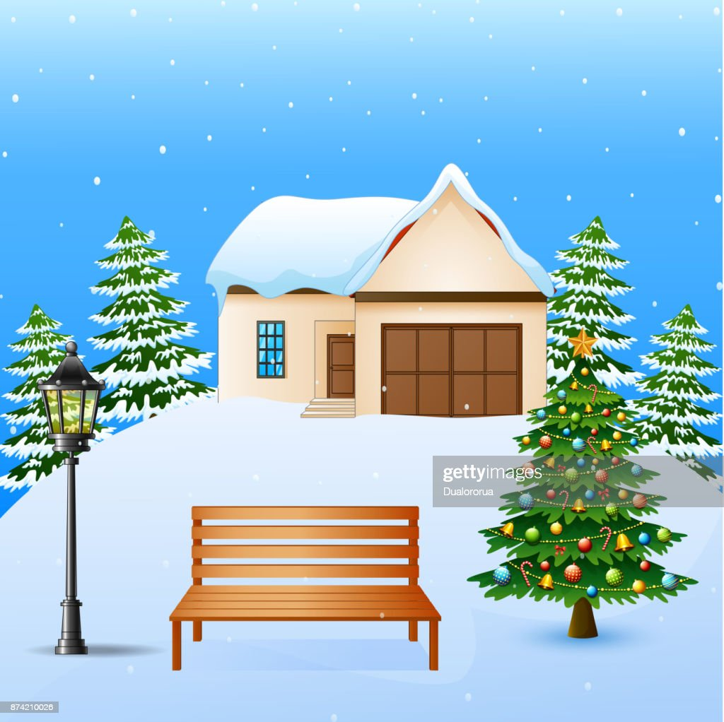Winter background with house, wood bench and christmas tree on the snow hills