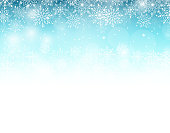 Winter Background with Various Cold Blue Snowflakes Pattern. Vector Illustration