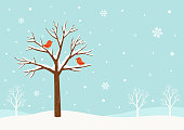 Winter background.Winter tree with cute red birds