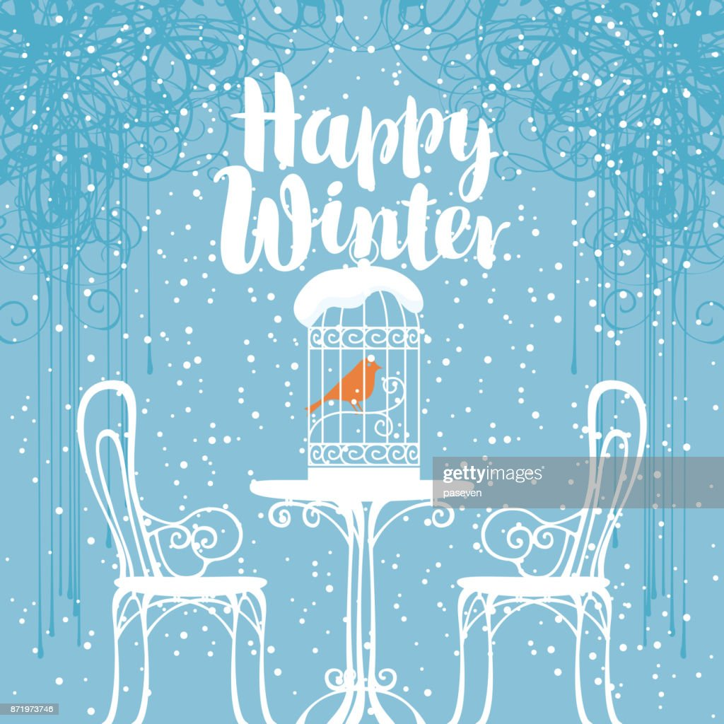 winter banner with bird in the cage on the table