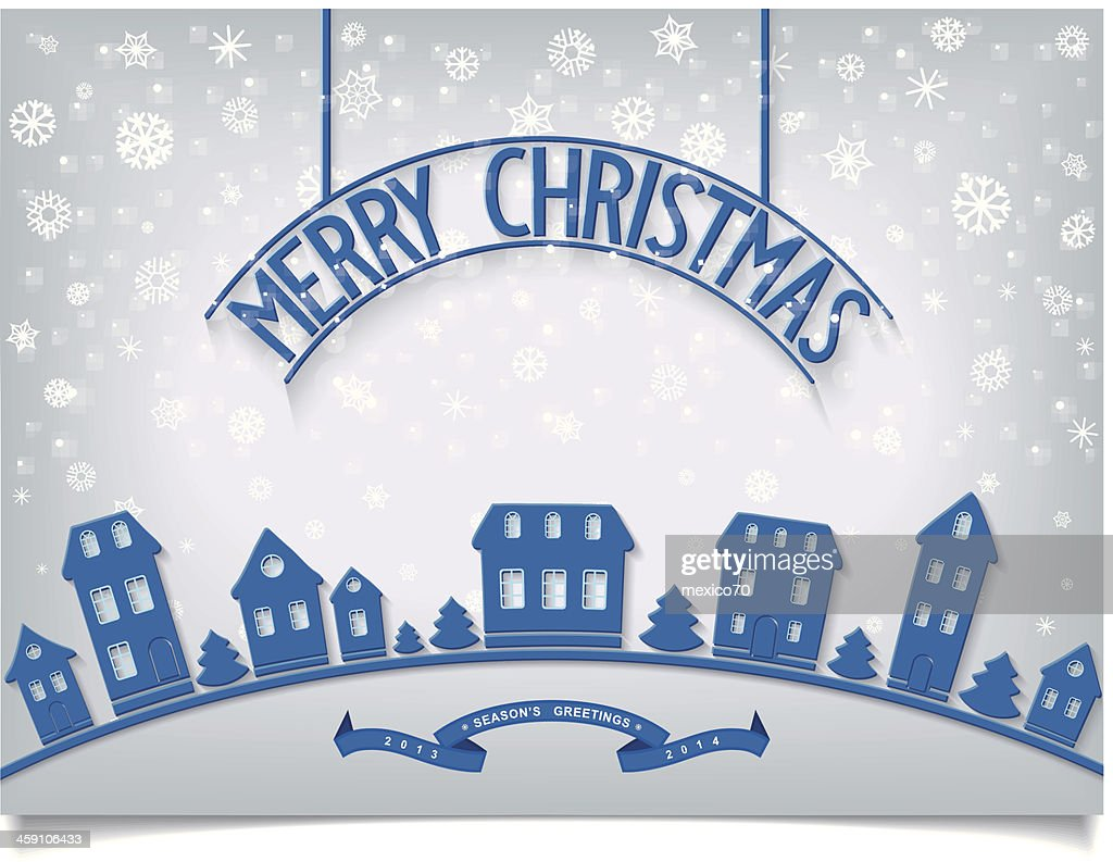 winter banner with blue houses and signboard lettering