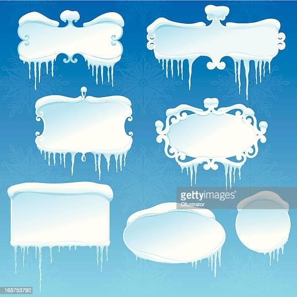冬のバナーコレクションに雪と icicles