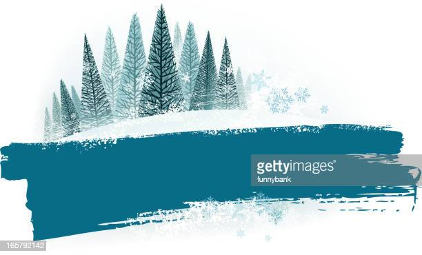 winter banners - hill stock illustrations, clip art, cartoons, & icons