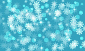Winter blue background,abstract  snowflakes