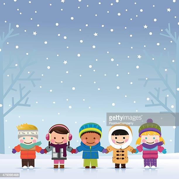 winter boys and girls - coat stock illustrations
