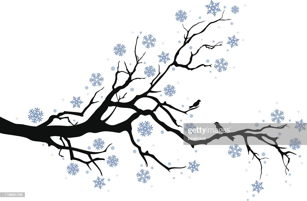 winter branch with snowflakes