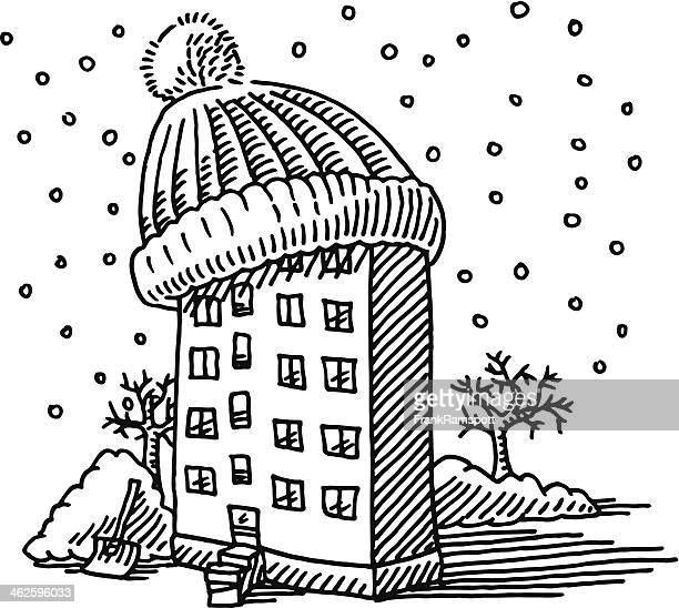 Winter Building Bobble Hat Drawing