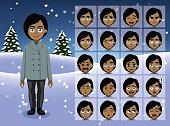 Winter Businesswoman Cartoon Emotion faces Vector Illustration