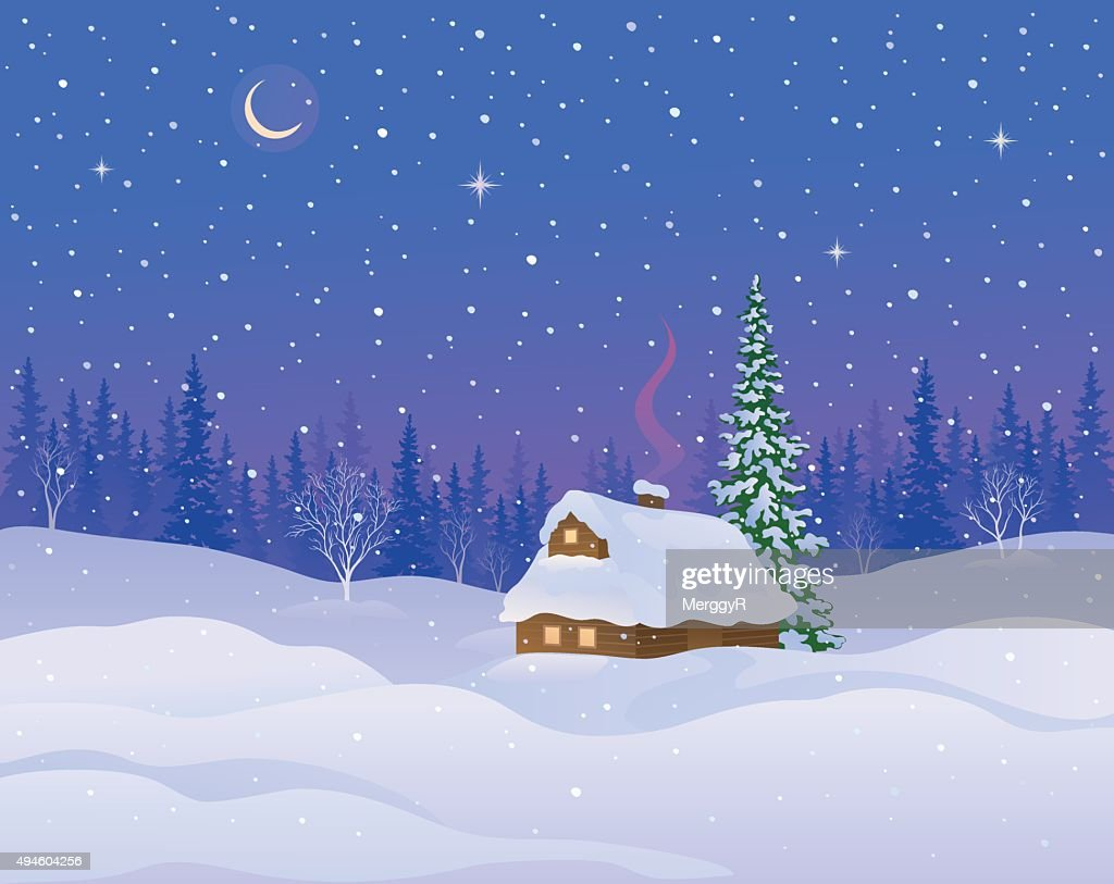 Winter cabin background