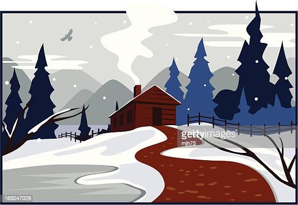 冬のキャビン - ログハウス点のイラスト素材/クリップアート素材/マンガ素材/アイコン素材