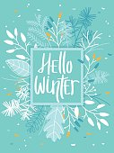 Winter Card with Leaves and Branches - Mint Colored Background