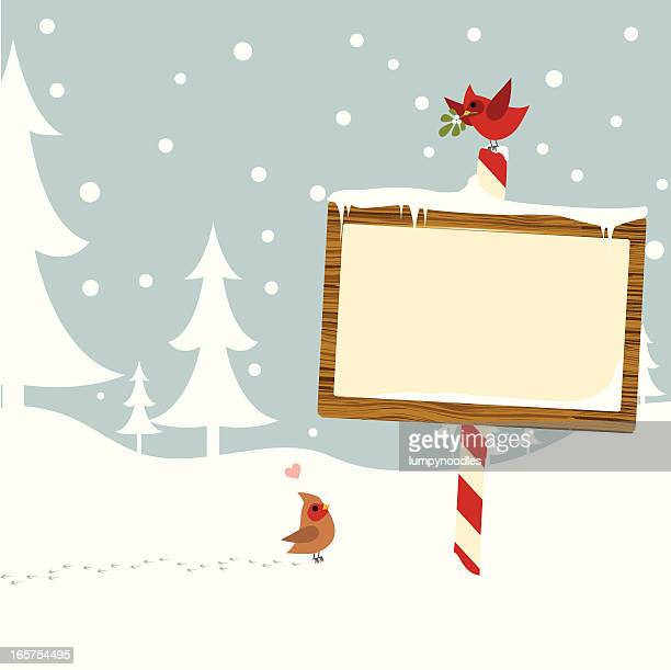 winter card with sign - animal track stock illustrations, clip art, cartoons, & icons
