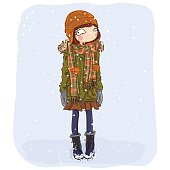 winter cartoon girl