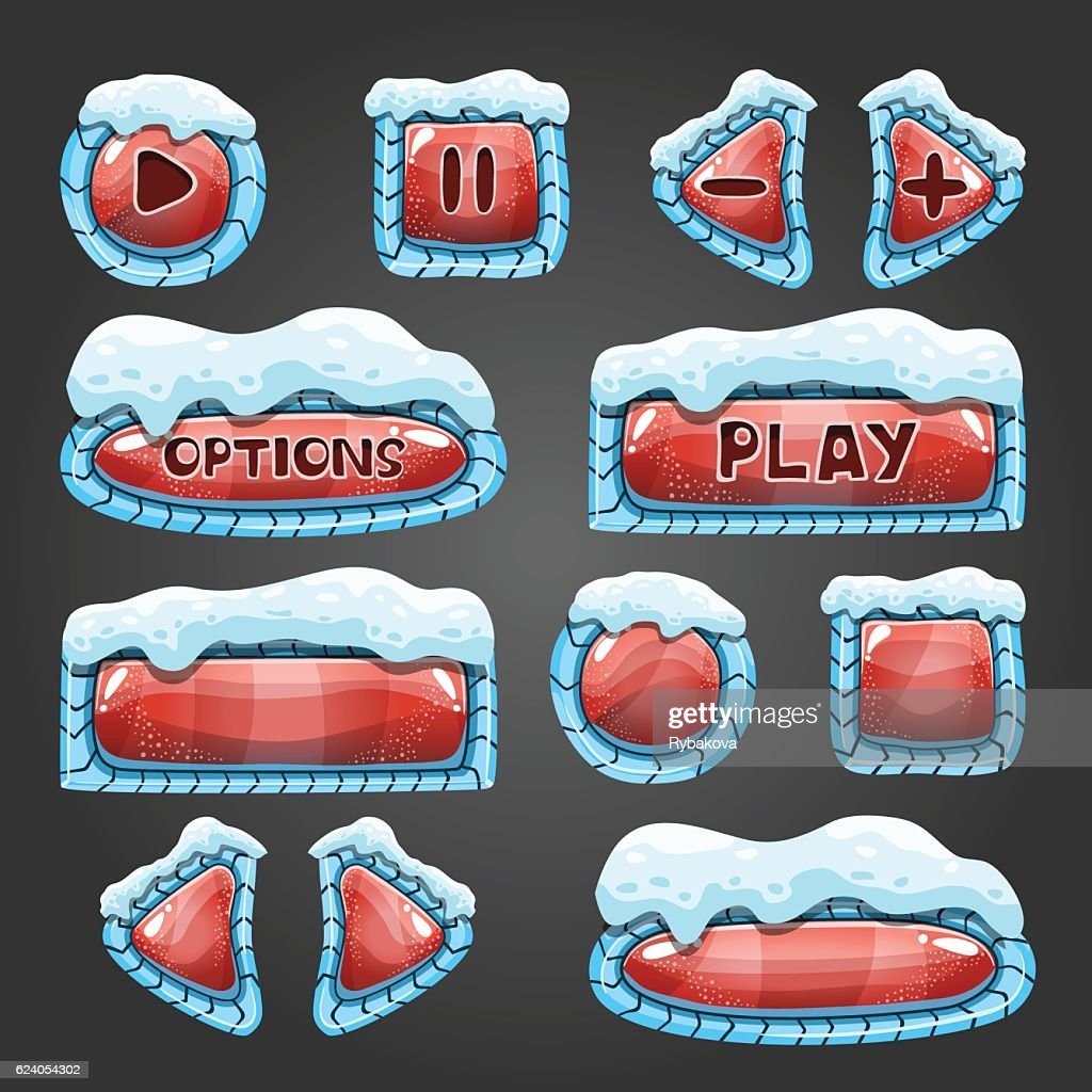 Winter cartoon red buttons with snow