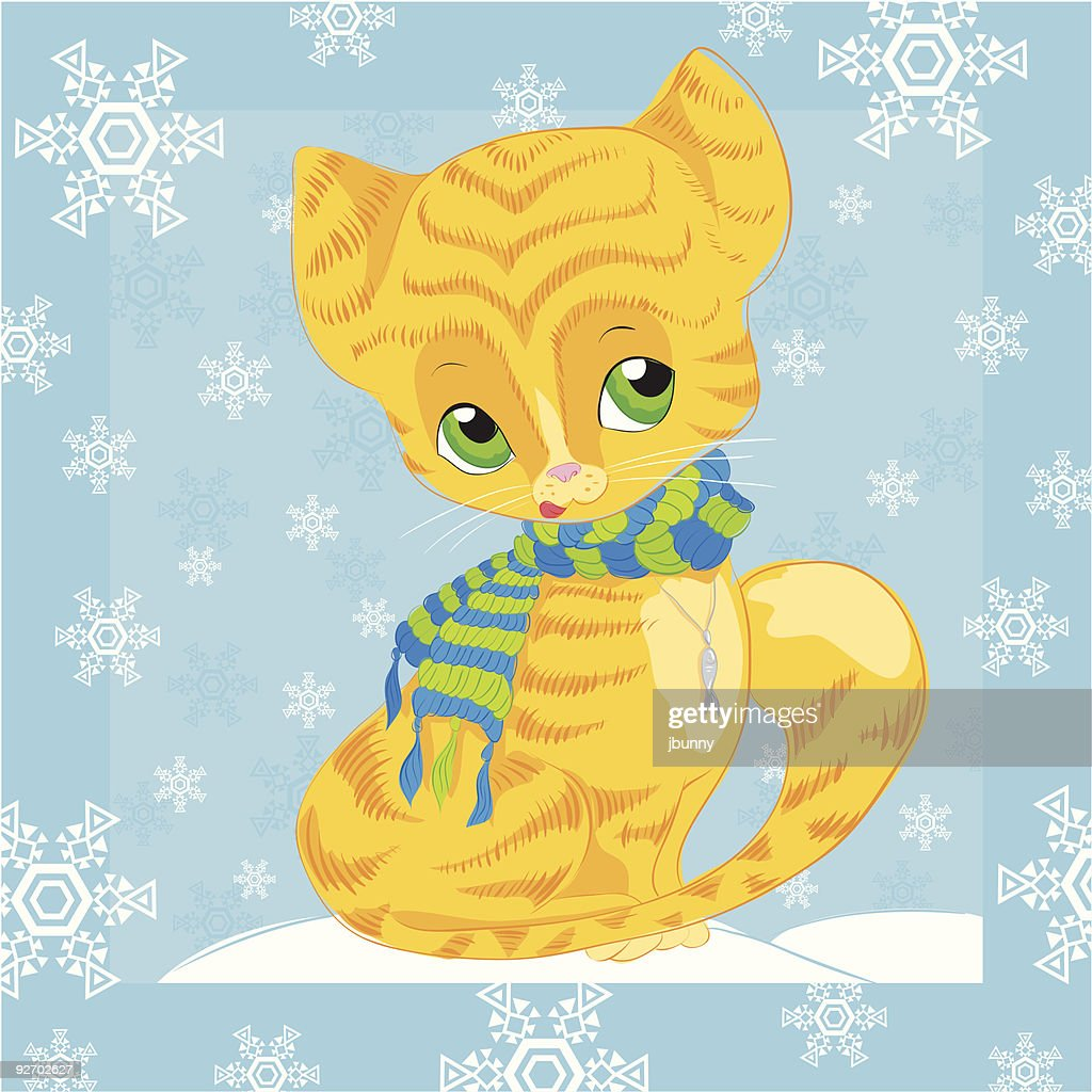 Winter cat with scarf