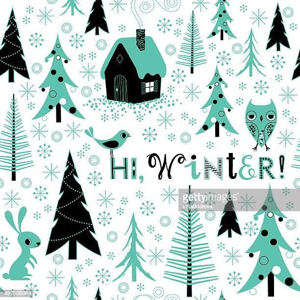 ilustraciones, imágenes clip art, dibujos animados e iconos de stock de invierno celebración patrón de fondo. - felicitar
