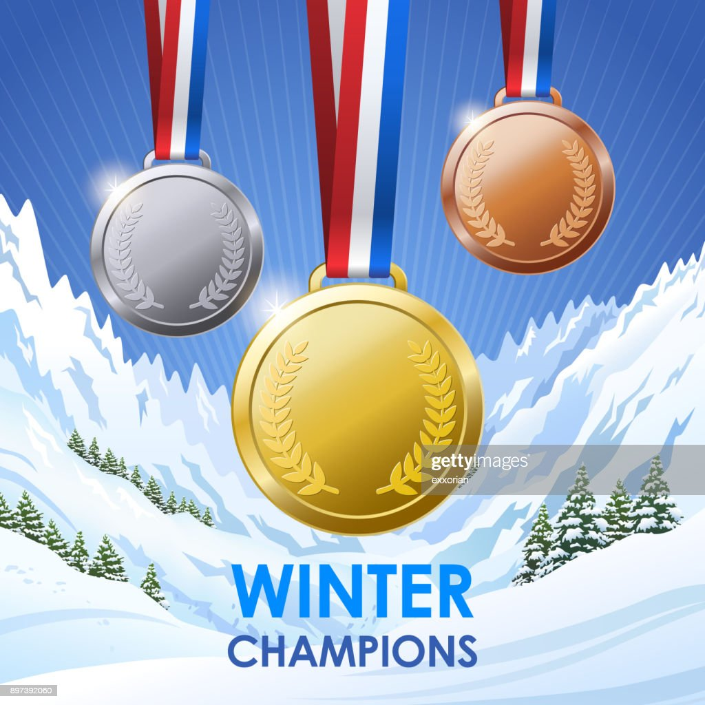 Winter Champion Medals : stock illustration