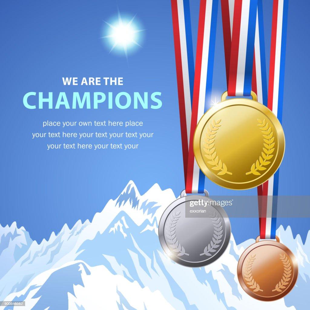 Winter Champion Medals : stock illustration