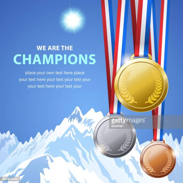 winter champion medals - the olympic games stock illustrations