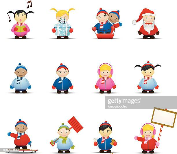 winter children icons - snow shovel stock illustrations