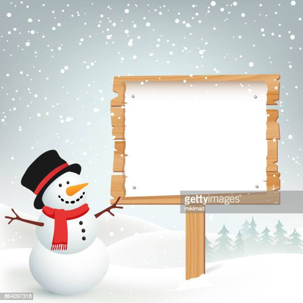 winter christmas background with snowman - sign stock illustrations, clip art, cartoons, & icons