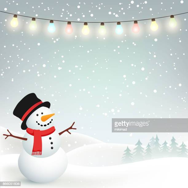 winter christmas background with snowman - snowman stock illustrations