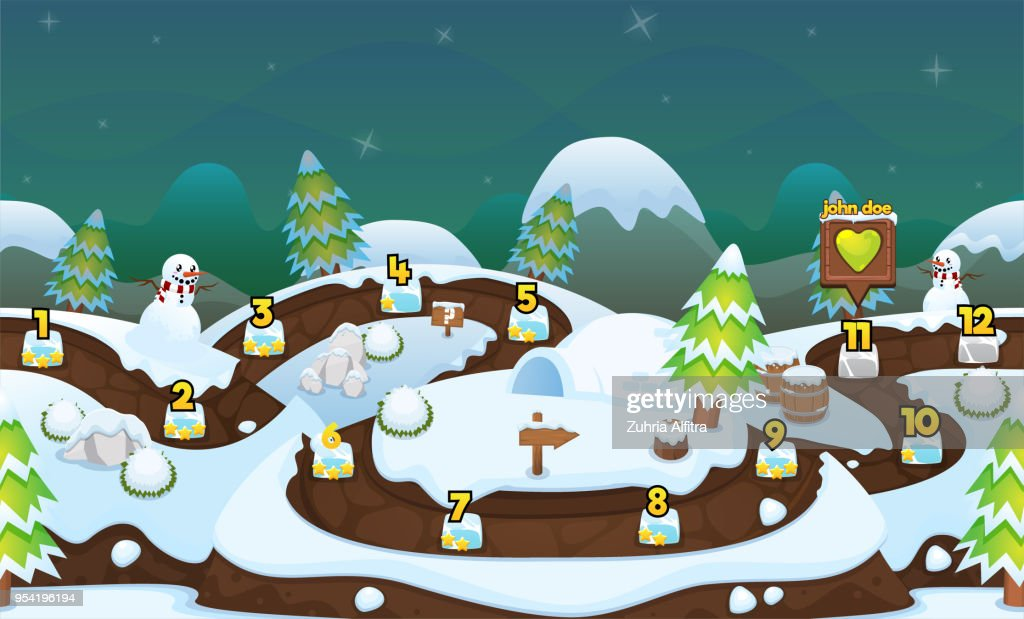 Winter Christmas Game Level Map