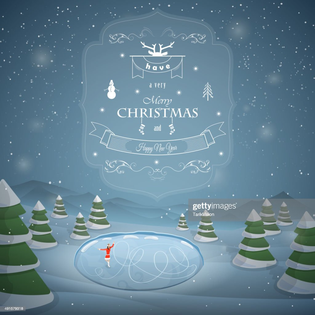 Winter Christmas landscape vector illustration.