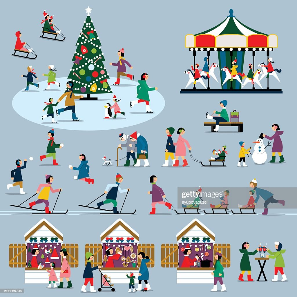 Winter Christmas people set